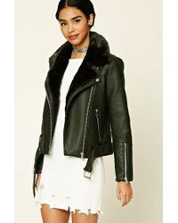 Forever 21 | Green Belted Faux Leather Moto Jacket | Lyst