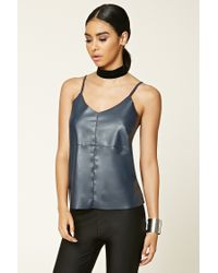 Forever 21 | Blue Faux Leather-front Cami | Lyst