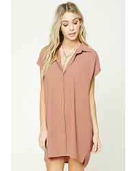 Forever 21 | Purple Button-front Shirt Dress | Lyst