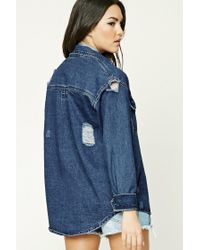 Forever 21   Blue Distressed Denim Shirt   Lyst