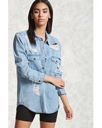 Forever 21   Blue Distressed Denim Pocket Shirt   Lyst