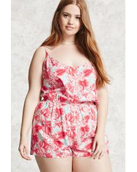Forever 21 | Red Plus Size Tropical Romper | Lyst