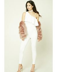 Forever 21 White One-shoulder Flounce Jumpsuit