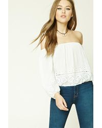 Forever 21 | Natural Laser-cut Off-the-shoulder Top | Lyst