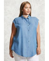 Forever 21 | Blue Plus Size Chambray Shirt | Lyst