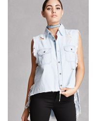 Forever 21 | Blue Twelve Chambray High-low Vest | Lyst