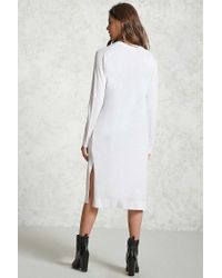 Forever 21 - White Open-front Longline Cardigan - Lyst