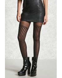 Forever 21 | Black Semi-sheer Striped Tights | Lyst