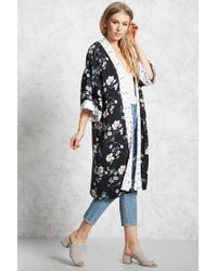 Forever 21 - Black Contrast Floral Kimono - Lyst