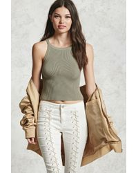 Forever 21 | Green Ribbed Sweater Knit Tank | Lyst