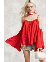 Forever 21 | Red Open-shoulder Peasant Top | Lyst