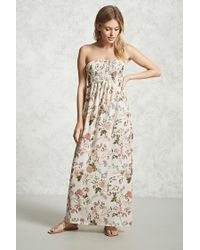 Forever 21 | Natural Floral Print Maxi Dress | Lyst