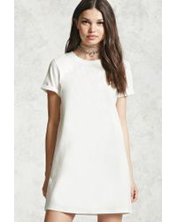 Forever 21 | White Cuffed Sleeve T-shirt Dress | Lyst