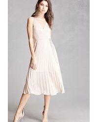 Forever 21 | Multicolor Lush Pleated Satin Midi Dress | Lyst