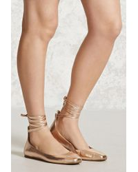 Forever 21 | Metallic Lace-up Ballet Flats | Lyst