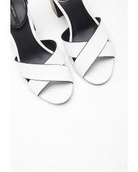 Forever 21 - White Ankle Strap Crisscross Sandals - Lyst