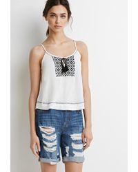 Forever 21 | Blue Distressed Denim Bermuda Shorts | Lyst