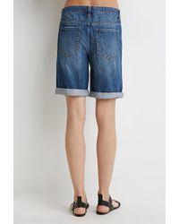 Forever 21 | Blue Distressed Denim Bermuda Shorts | Lyst