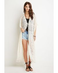 Forever 21 | Natural Paisley-patterned Lace Cardigan | Lyst