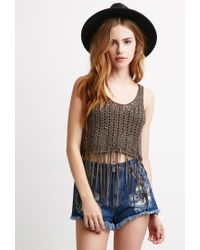 Forever 21 | Brown Open-knit Fringe Tank | Lyst