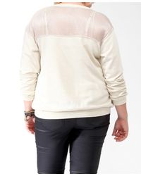 Forever 21 | Natural Plus Size Metallic Ribbon Yoke Pullover | Lyst