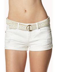 Forever 21 | Natural Destroyed Denim Shorts W/ Crocheted Belt | Lyst