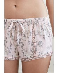 Forever 21 - Pink Lacy Rose Pj Shorts - Lyst