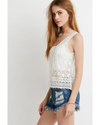 Forever 21 - Natural Embroidered Crochet-paneled Top - Lyst