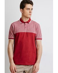 Forever 21 | Red Colorblocked Piqué Polo for Men | Lyst