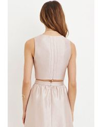 Forever 21 - Pink Contemporary Sheeny Crop Top - Lyst