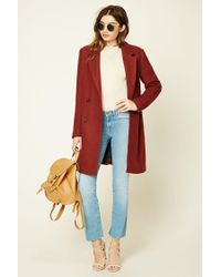 Forever 21 | Red Longline Wool-blend Coat | Lyst