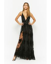 05723788ef3a Lyst - Forever 21 Flocked Mesh Maxi Dress in Black