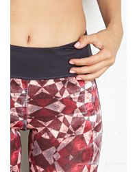 Forever 21 - Gray Active Prism Print Workout Capri Leggings - Lyst