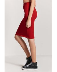 Forever 21 - Red Stretch-knit Pencil Skirt - Lyst