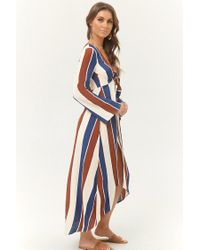 Forever 21 - Blue Striped Tie-front Duster Jacket - Lyst