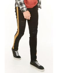 Forever 21 - Black Kayden K Distressed Side-striped Jeans for Men - Lyst