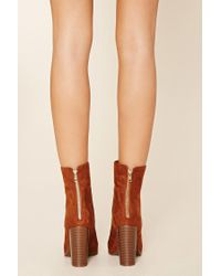 Forever 21 - Brown Faux Suede Booties - Lyst