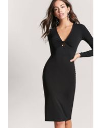 Forever 21 - Black Twist-front Bodycon Dress - Lyst