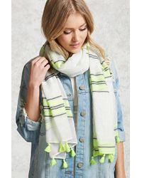 FOREVER21 - Green Striped Tassel Fringe Scarf - Lyst