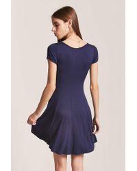 Forever 21 - Blue V-neck Swing Dress - Lyst