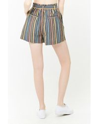 Forever 21 - Black Striped Paperbag Shorts - Lyst