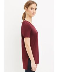 Forever 21 - Purple Raw Cut Side-slit Tee - Lyst