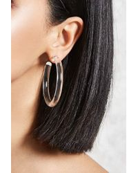 Forever 21 | Multicolor Clear Acrylic Hoop Earrings | Lyst
