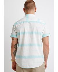 Forever 21 - Natural Striped Button-tab Shirt for Men - Lyst