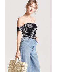 4b2dd30aa8ac4 Lyst - Forever 21 Women s Stripe Off-the-shoulder Crop Top in Black