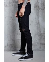 Forever 21 - Black Distressed Slim-fit Jeans for Men - Lyst