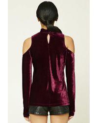 Forever 21 - Purple Women's Velvet Open-shoulder Top - Lyst
