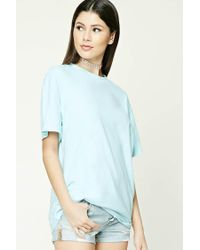 Forever 21 - Blue Oversized Cotton Tee - Lyst