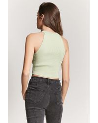 Forever 21 Multicolor Women's Ribbed High-neck Crop Top