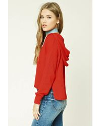 Forever 21 - Red Ribbed Dropped-sleeve Hoodie - Lyst